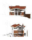 Modern farmhouse two storey rural house with a ground floor Stock Image