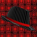 Modern Fedora hat on abstract red background Royalty Free Stock Photo