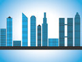 Modern fictional skyscraper skyline cityscape blue gradient with several skyscrapers in different forms and size Stock Photography