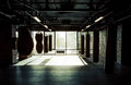Modern fight club empty with punching bags of different shapes for practicing martial arts Royalty Free Stock Photo