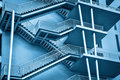 Modern fire escape toned in blue Stock Image