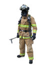 Modern firefighter in gear Stock Image