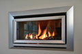 Modern fireplace a stainless steel Stock Images
