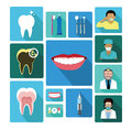 Modern flat dental icons set with long shadow effect this is it s for advertising and illustration Royalty Free Stock Photography