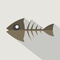 Modern Flat Design Fishbone Icon.
