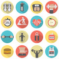 Modern Flat Design Fitness icon Set Royalty Free Stock Photo