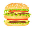 Modern flat design vector illustration of big hamburger Royalty Free Stock Photo