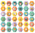 Modern flat education and leisure icons in hexagon set of symbols multicolored hexagons with long shadows Royalty Free Stock Image