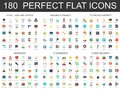 180 modern flat icon set of Legal law justice, banking finance, economics market, insurance, e commerce, cyber security Royalty Free Stock Photo