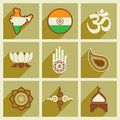 Modern flat icons collection with long shadow India
