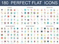 180 modern flat icons set of school, stationery, education, online learning, brain process, data science icons.