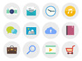 Modern flat icons set vector collection of in design on various theme isolated in gray circle on white background Stock Photos