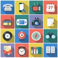 Modern flat icons vector collection with long shadow effect in stylish colors of web design objects, business, office Royalty Free Stock Photo