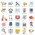 Modern flat icons vector collection in stylish colors of web design objects, business, office and marketing items. Royalty Free Stock Photo
