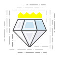 Modern flat line icon diamond with a crown. Badge of the award