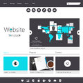 Modern flat minimalistic website template for business in editable vector Royalty Free Stock Photos