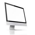 Modern flat screen computer monitor with blank and reflection on white background highly detailed illustration Royalty Free Stock Photography