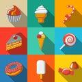 Modern flat sweet icons set with - cupcake, donut