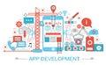 Modern Flat thin Line design App development concept