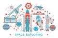 Modern Flat thin Line design open Space exploring technology concept