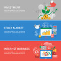 Modern flat thin line design vector illustration, infographic concept of investment process, stock market and internet business