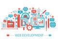 Modern Flat thin Line design Web development concept