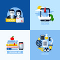 Modern flat vector concept of educational elements for websites and mobile apps icons set for education and online learning Stock Images