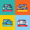 Modern flat vector concepts of web design, SEO, social media mar