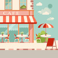 Modern flat vector illustration. Outdoor cafe in the european st