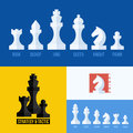 Modern flat vector set of chess icons chess pieces including king queen bishop knight rook pawn Royalty Free Stock Photos