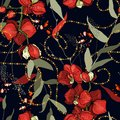 Modern floral design. Hand drawn vector illustration. Chains botanical seamless pattern with flowers and plants