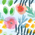 Modern floral seamless pattern in watercolor technique. Royalty Free Stock Photo