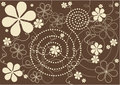 Modern flowers brown background abstract art in retro style Royalty Free Stock Photography