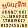 Modern font alphabet. Set of letters and numbers line design