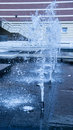 Modern fountain in a blue tone Royalty Free Stock Photo