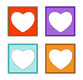 Modern frame colorful heart d of frames for collect picture on white background Stock Photo