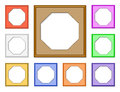 Modern frame octagon colorful d set of frames for collect picture image and gallery on white background Stock Photos