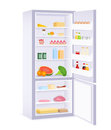 Modern fridge with various food Royalty Free Stock Image