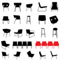 Modern furniture silhouette set Stock Images