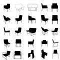 Modern furniture silhouette set Royalty Free Stock Photo
