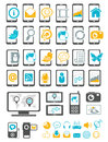 Modern gadget and mobile device icons Stock Photos