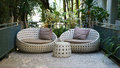 Modern garden sofa or love seat in the home garden Stock Photo