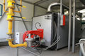 Modern gas boiler house the equipment of the in Royalty Free Stock Images