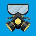 Modern gas mask respirator. Fire equipment.