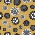Modern Gears many sizes and styles of gears in blacks grays and yellow, seamless repeat vector