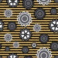 Modern Gears with stripes many sizes and styles of gears in blacks grays and yellow, seamless repeat vector