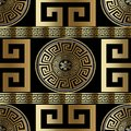 Modern geometric greek seamless pattern. Vector gold meander background. 3d wallpaper with greek key ornament. Ornate fabric