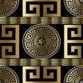 Modern geometric greek seamless pattern. Vector gold meander bac Royalty Free Stock Photo