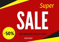 Modern geometric super sale banner template on red background.