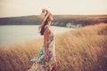 Modern girl in light summer dress Royalty Free Stock Photo